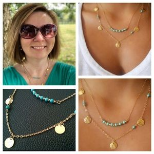 2 Layer Gold Green Costume Layer Chock Necklace